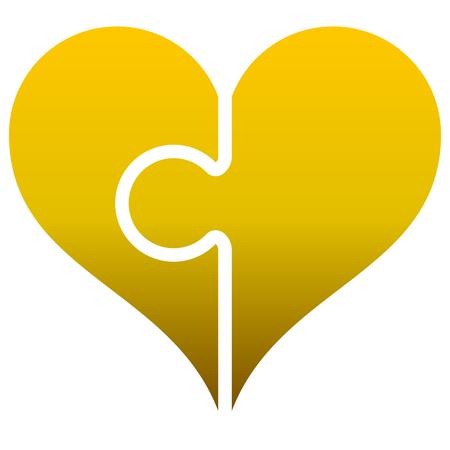 Heart puzzle symbol icon - golden gradient, isolated - vector illustration Illustration