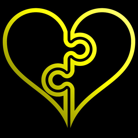 Heart puzzle symbol icon - yellow outlined gradient, isolated - vector illustration