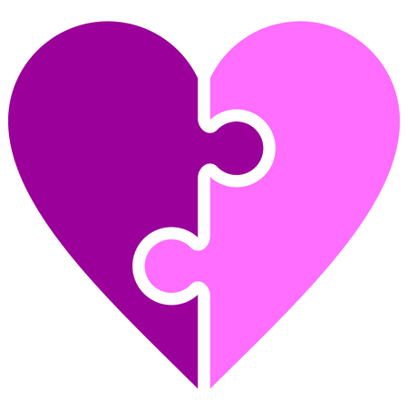 Heart puzzle symbol icon - purple simple, isolated - vector illustration