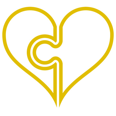 Heart puzzle symbol icon - golden simple outlined, isolated - vector illustration