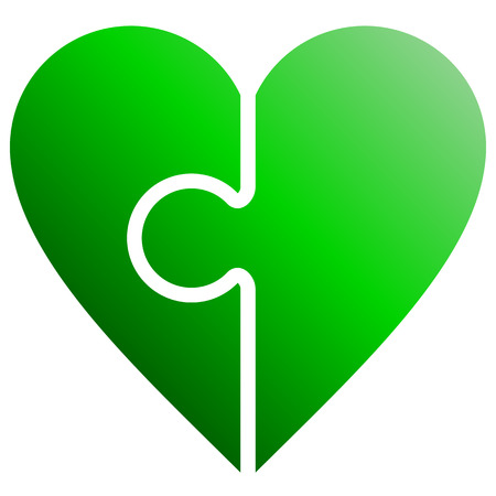 Heart puzzle symbol icon - green gradient, isolated - vector illustration