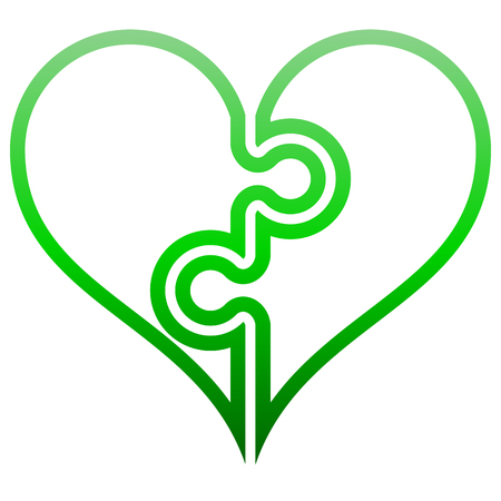Heart puzzle symbol icon - green outlined gradient, isolated - vector illustration 向量圖像