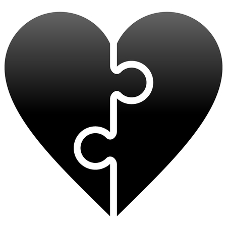 Heart puzzle symbol icon - black gradient, isolated - vector illustration