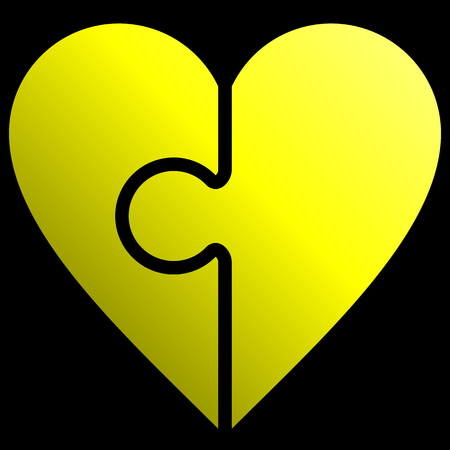 Heart puzzle symbol icon - yellow gradient, isolated - vector illustration