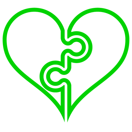 Heart puzzle symbol icon - green simple outlined, isolated - vector illustration