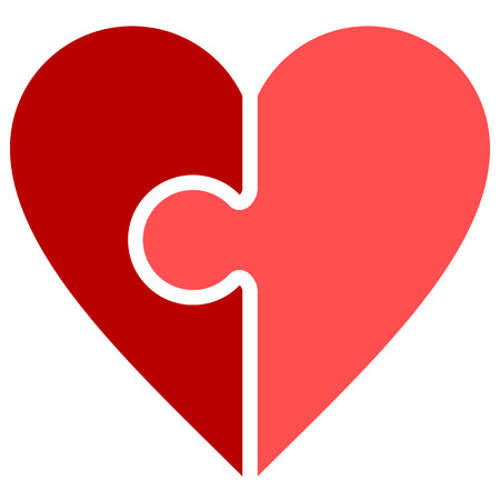 Heart puzzle symbol icon - red simple, isolated - vector illustration 向量圖像
