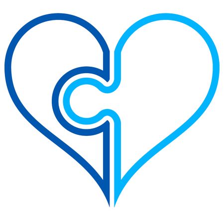 Heart puzzle symbol icon - blue simple outlined, isolated - vector illustration