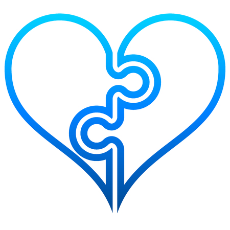 Heart puzzle symbol icon - blue outlined gradient, isolated - vector illustration