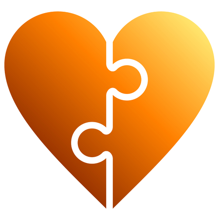 Heart puzzle symbol icon - orange gradient, isolated - vector illustration