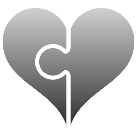 Heart puzzle symbol icon - gray gradient, isolated - vector illustration