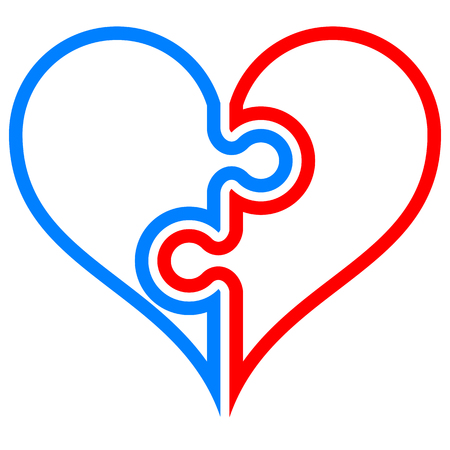 Heart puzzle symbol icon - red blue simple outlined, isolated - vector illustration