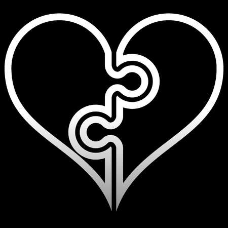 Heart puzzle symbol icon - white outlined gradient, isolated - vector illustration
