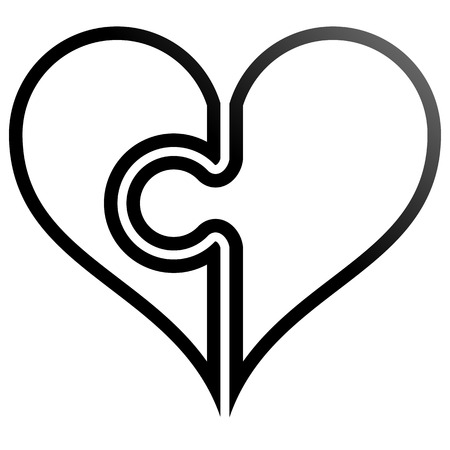 Heart puzzle symbol icon - black outlined gradient, isolated - vector illustration
