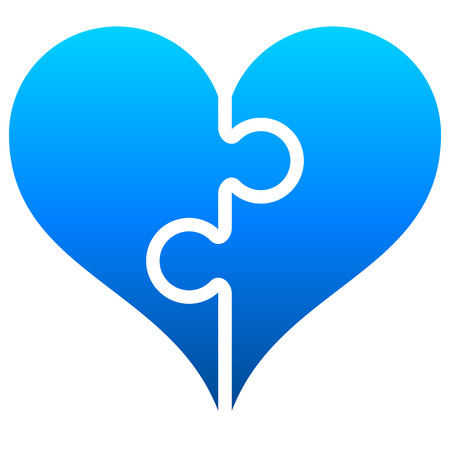 Heart puzzle symbol icon - blue gradient, isolated - vector illustration