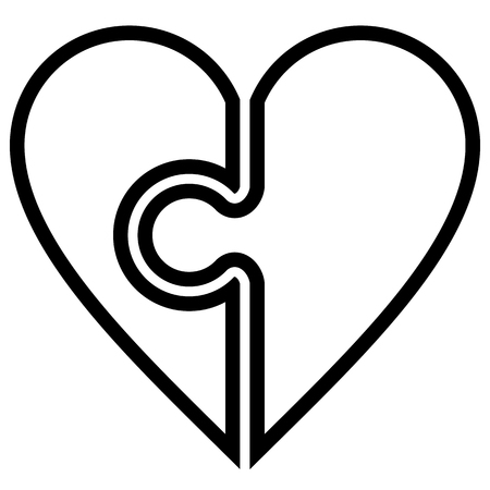 Heart puzzle symbol icon - black simple outlined, isolated - vector illustration 矢量图像