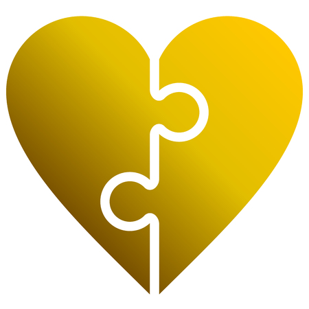 Heart puzzle symbol icon - golden gradient, isolated - vector illustration
