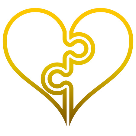 Heart puzzle symbol icon - golden outlined gradient, isolated - vector illustration