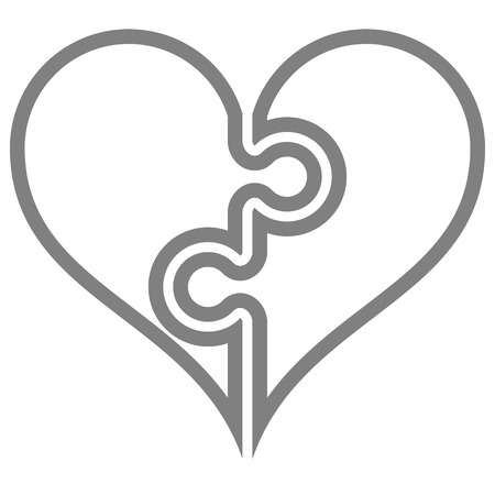 Heart puzzle symbol icon - gray simple outlined, isolated - vector illustration