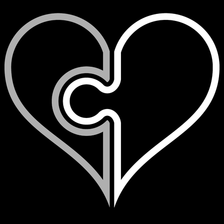 Heart puzzle symbol icon - white simple outlined, isolated - vector illustration
