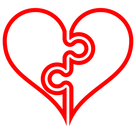 Heart puzzle symbol icon - red simple outlined, isolated - vector illustration