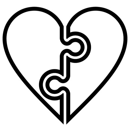 Heart puzzle symbol icon - black simple outlined, isolated - vector illustration Illustration