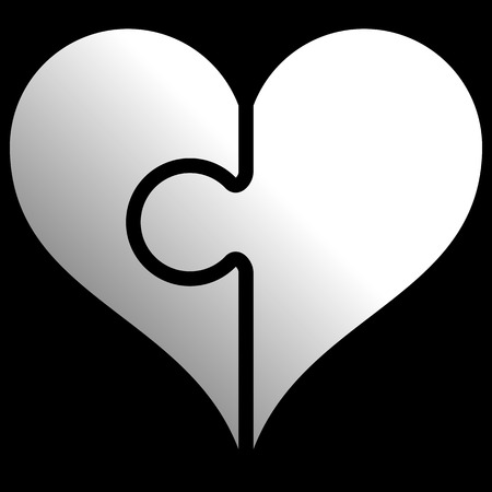 Heart puzzle symbol icon - white gradient, isolated - vector illustration