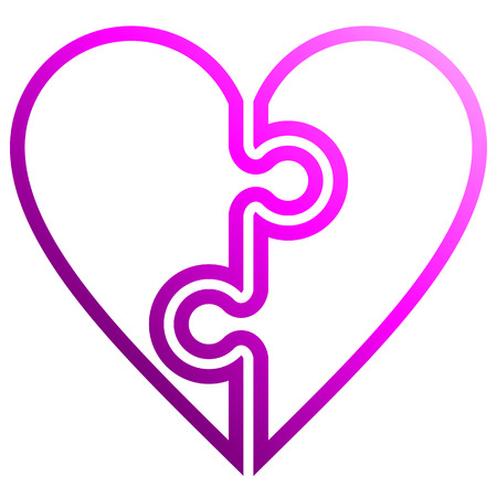 Heart puzzle symbol icon - purple outlined gradient, isolated - vector illustration