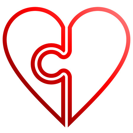 Heart puzzle symbol icon - red outlined gradient, isolated - vector illustration