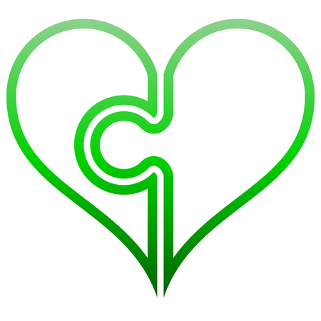 Heart puzzle symbol icon - green outlined gradient, isolated - vector illustration Illustration