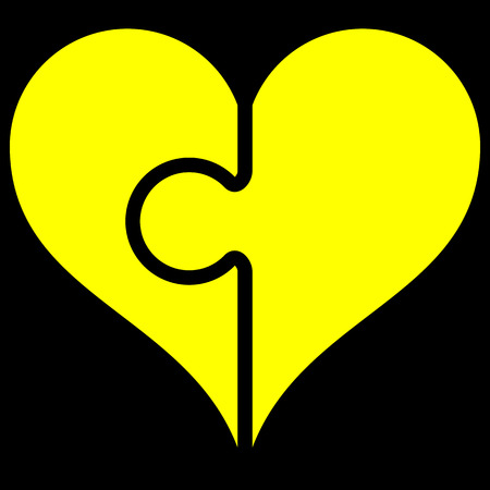 Heart puzzle symbol icon - yellow simple, isolated - vector illustration