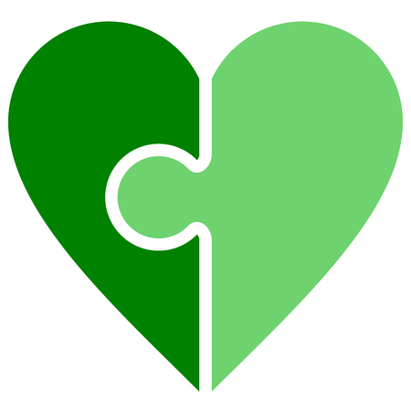 Heart puzzle symbol icon - green simple, isolated - vector illustration
