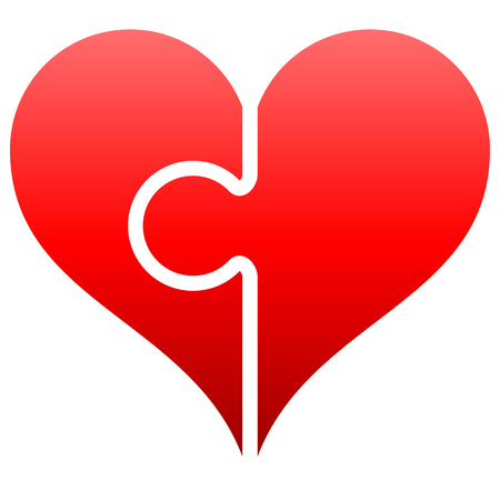 Heart puzzle symbol icon - red gradient, isolated - vector illustration 向量圖像
