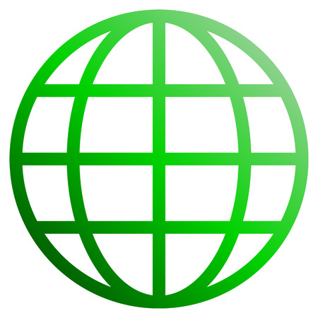 Globe symbol icon - green gradient, isolated - vector illustration Stock Illustratie