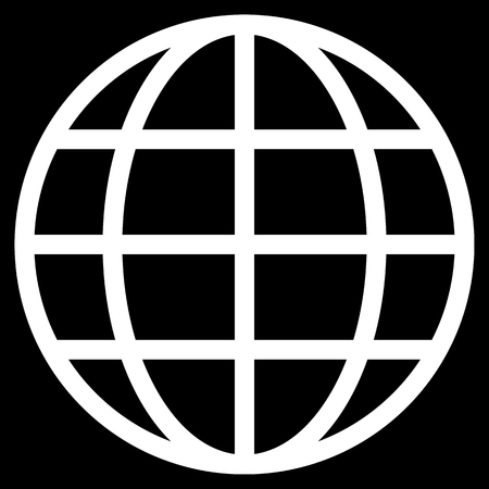 Globe symbol icon - white simple, isolated - vector illustration