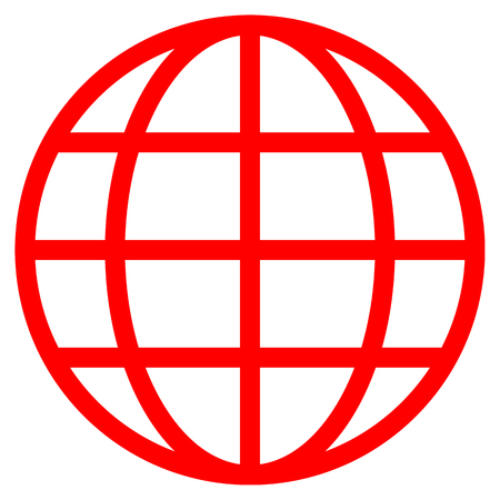 Globe symbol icon - red simple, isolated - vector illustration