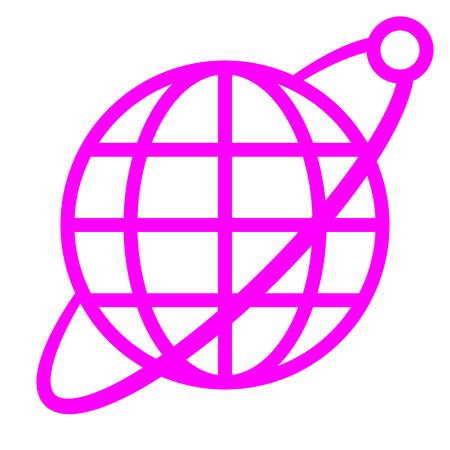Globe symbol icon with orbit and satellite - purple simple, isolated - vector illustration