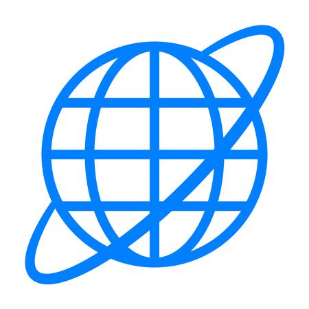 Globe symbol icon with orbit - blue simple, isolated - vector illustration Illustration