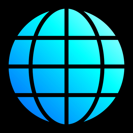 Globe symbol icon - cyan blue gradient, isolated - vector illustration Stock Illustratie