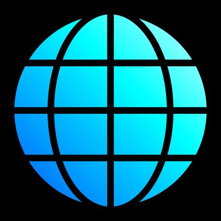 Globe symbol icon - cyan blue gradient, isolated - vector illustration Illustration