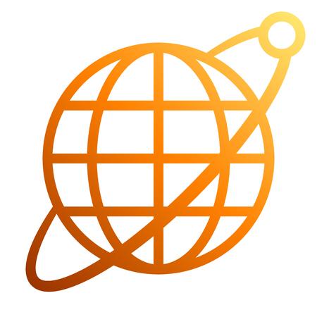 Globe symbol icon with orbit and satellite - orange gradient, isolated - vector illustration