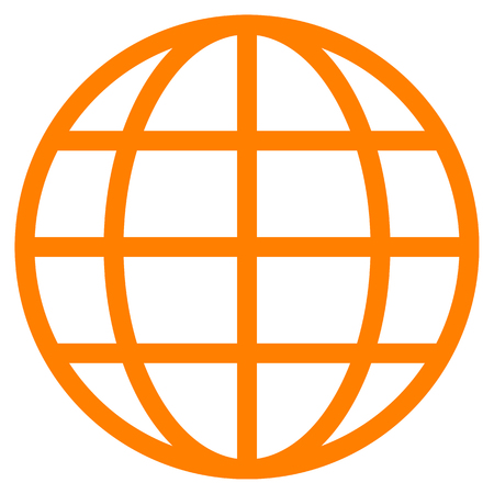 Globe symbol icon - orange simple, isolated - vector illustration