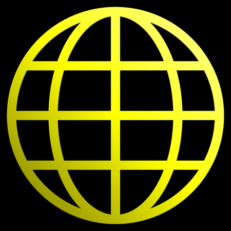 Globe symbol icon - yellow gradient, isolated - vector illustration