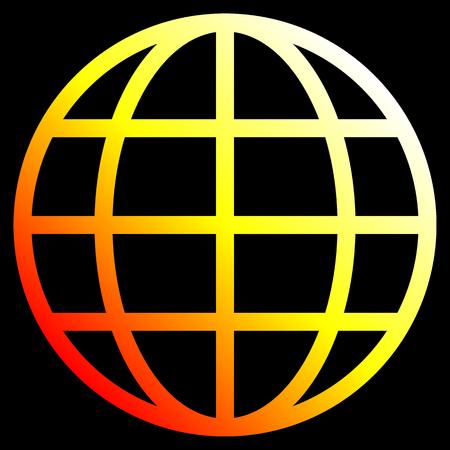 Globe symbol icon - white yellow orange red gradient, isolated - vector illustration