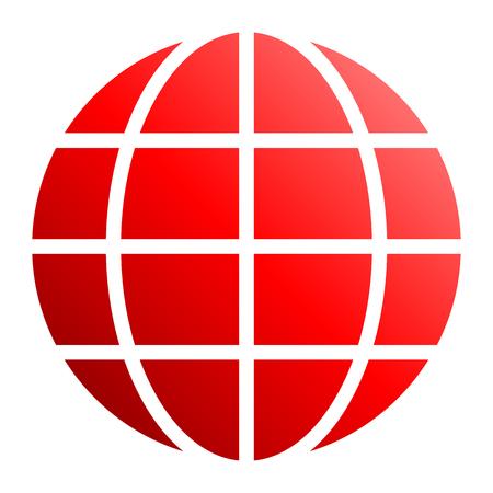 Globe symbol icon - red gradient, isolated - vector illustration