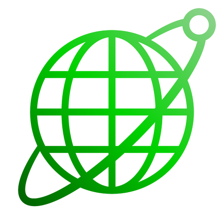 Globe symbol icon with orbit and satellite - green gradient, isolated - vector illustration