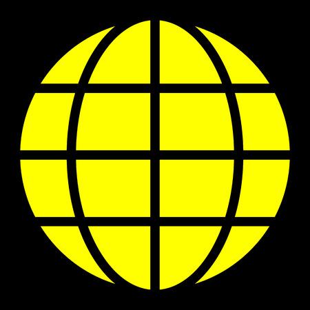 Globe symbol icon - yellow simple, isolated - vector illustration