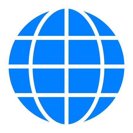 Globe symbol icon - blue simple, isolated - vector illustration