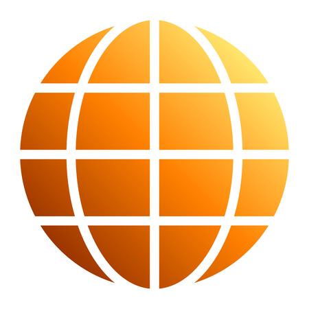 Globe symbol icon - orange gradient, isolated - vector illustration Stock Illustratie