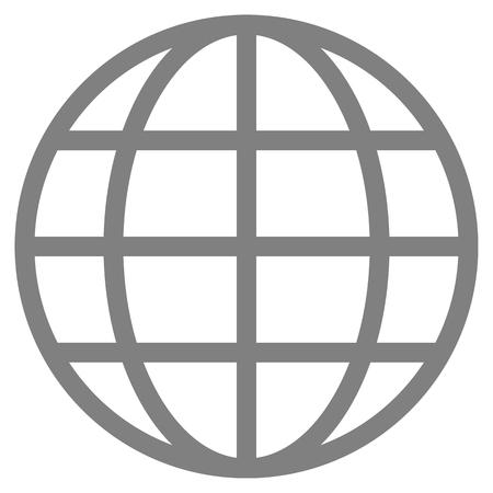 Globe symbol icon - gray simple, isolated - vector illustration