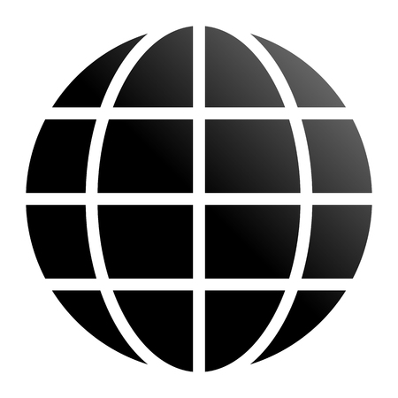 Globe symbol icon - black gradient, isolated - vector illustration